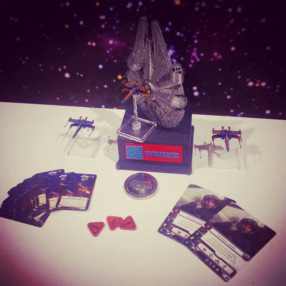 beker, gold, silver, bronze x-wing, cards & tokens..