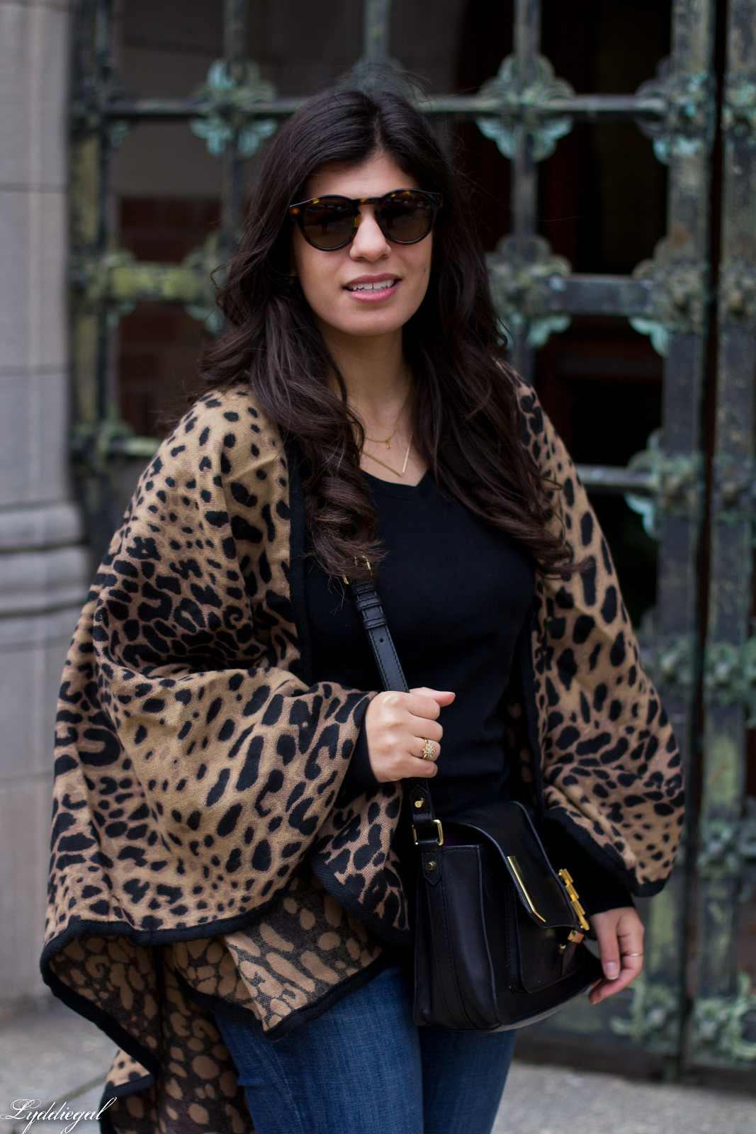 leopard poncho, jeans, black tee, brown booties-6.jpg
