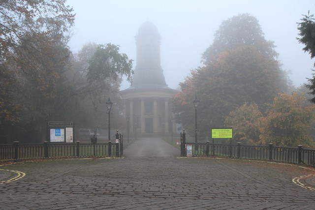 Saltaire United Reformed Church in the mist