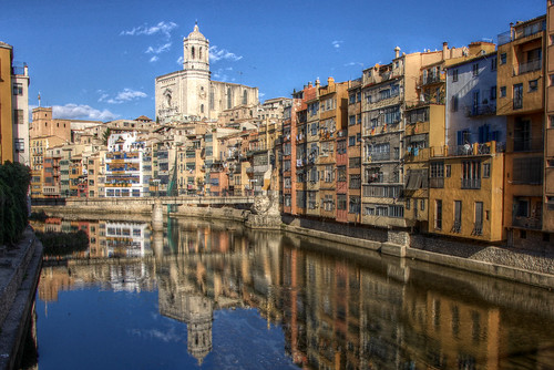 Girona - Across the river to the Cathedral