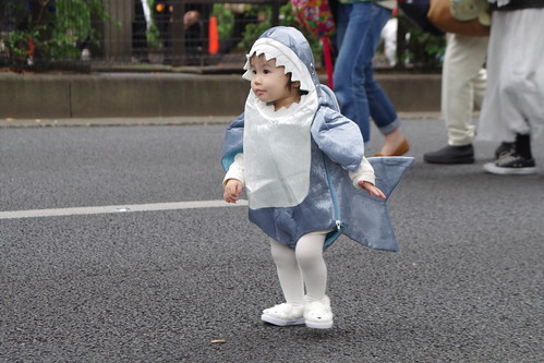 training at halloween parade