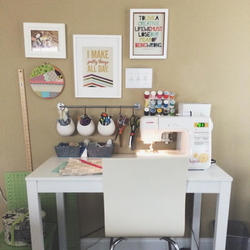 Working on a custom project in my sewing space for the first time since moving. This room still needs paint, but my little area is shaping up nicely! #sewlovedshop