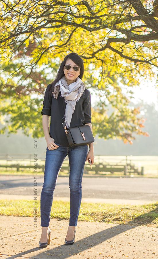 plaid scarf, black yoke top, skinny jeans, black crossbody bag, croc embossed pumps with wooden heels