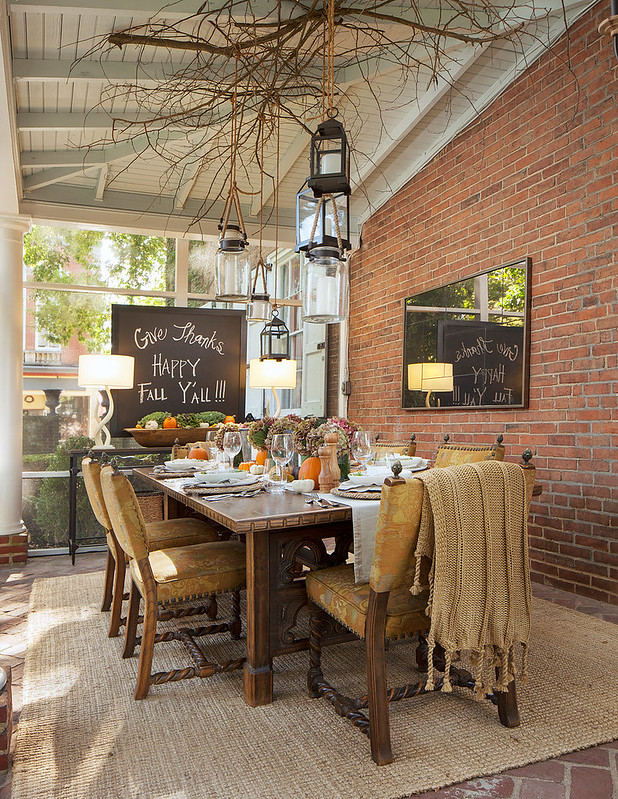 Fall Sunroom Dining Room Table Decor