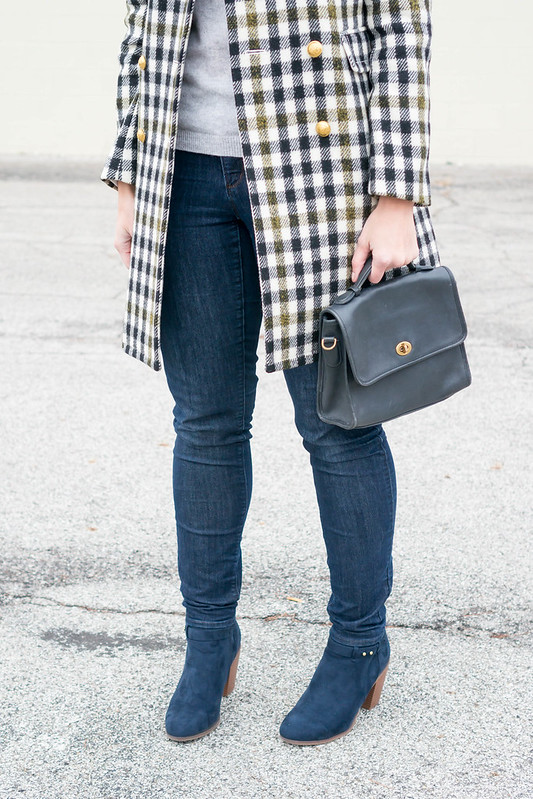 j.crew plaid check coat + gray sweater + white pom hat + navy purse + navy ankle boots + jeans | Style On Target blog