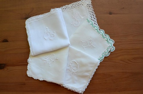 Hand Monogrammed Handkerchiefs