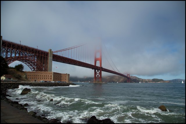 Golden Gate Bridge in cloud
