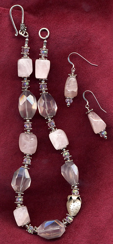 Rose quartz, crystal & sterling silver necklace and earrings