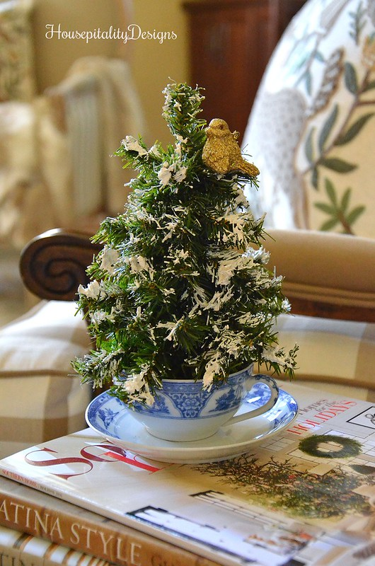 Blue and White Antique Tea Cup with Christmas Tree - Housepitality Designs
