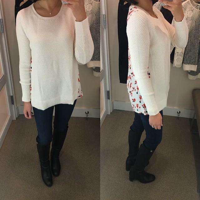 LOFT Floral Back Mixed Media Sweater, size XS regular