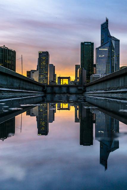 Paris, La Défense in a puddle