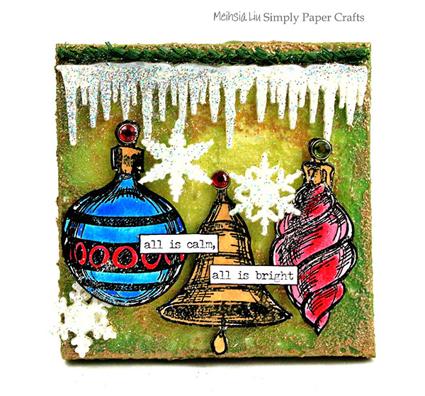 Meihsia Liu Simply Paper Crafts Mixed Media Canvas Trio Tastic Ornaments Snowflakes Tim Holtz Simon Says Stamp Monday Challenge 600