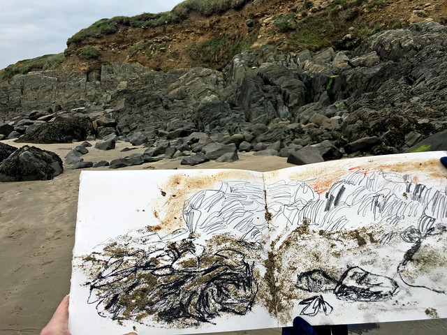 Wales: charcoal, soil, sand drawing, Whitesands Bay