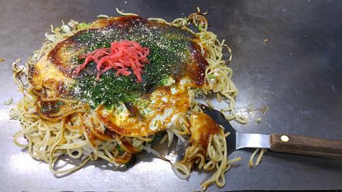Okonomiyaki served at Okonomi-mura Hiroshima