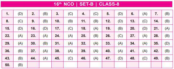 NCO Answer Key Set B Class 8