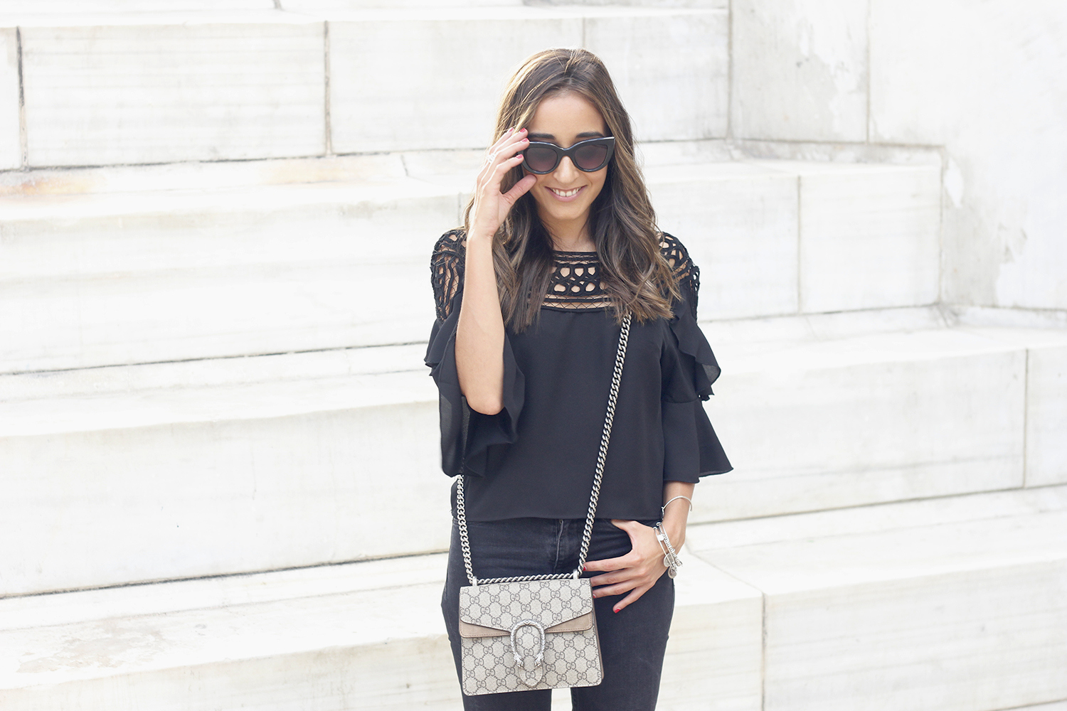 black top black jeans heels gucci bag sunnies outfit fashion style06