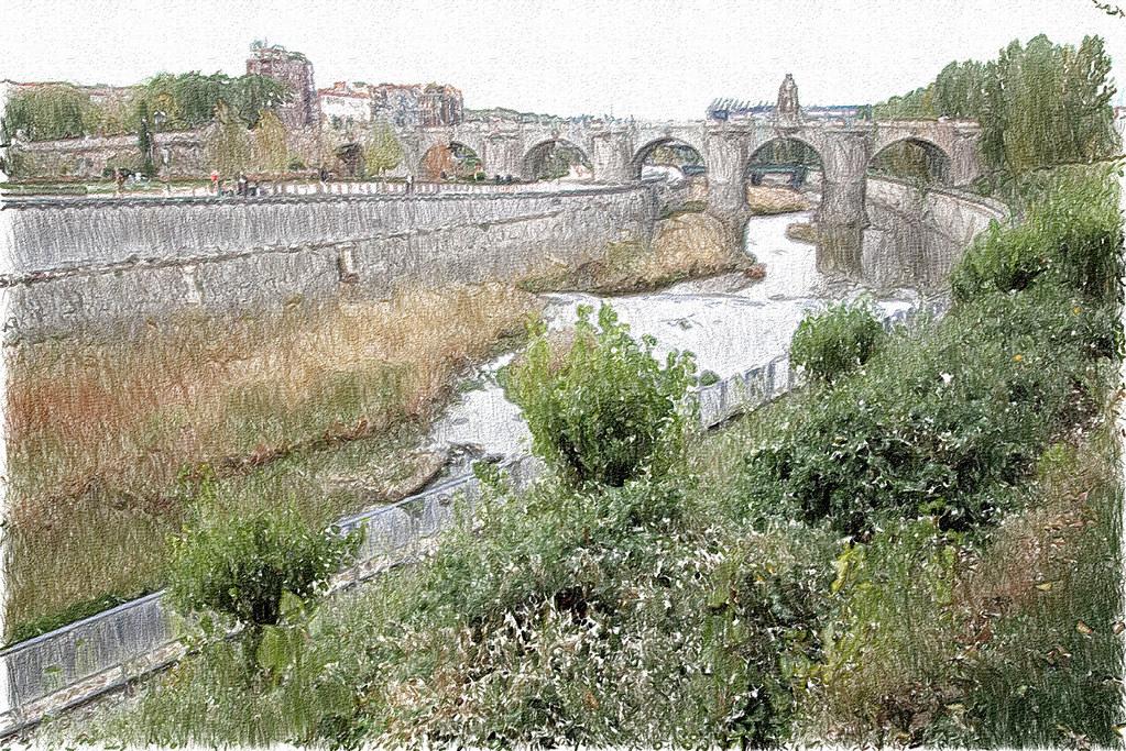 El Manzanares y el Puente de Toledo