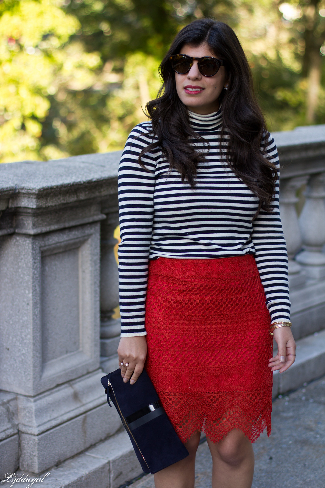 red lace skirt, striped shirt, navy clare v clutch, coach pumps-7.jpg