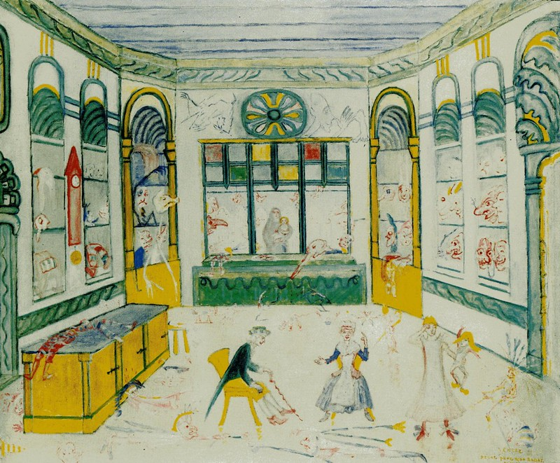 James Ensor - The Shop Of Grognelet Decoration For The Ballet Range Of Love, 1912
