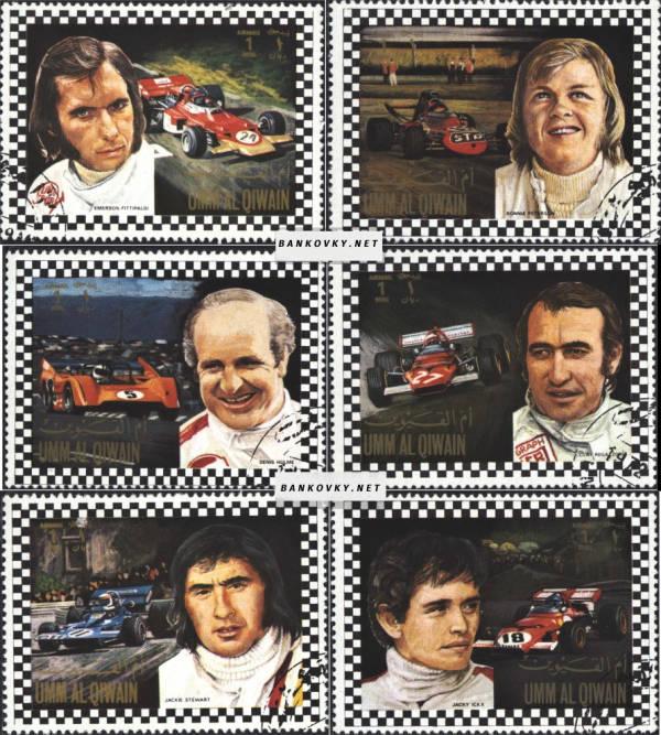 Známky Um al Kaiwain 1972 Automobily-jazdci, razÃ-tkovaná séria