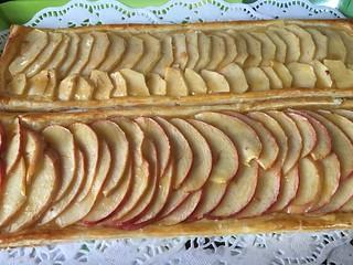 Bandas de fruta con crema pastelera