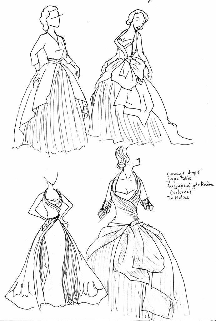 Croquis préparatoires pour robe de mariée grande alternative