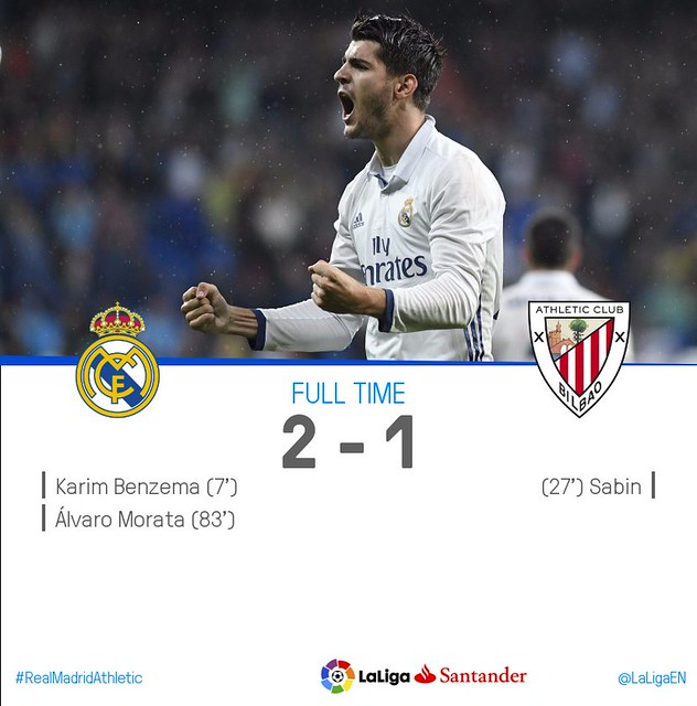 La Liga (Jornada 9): Real Madrid 2 - Athletic Club de Bilbao 1