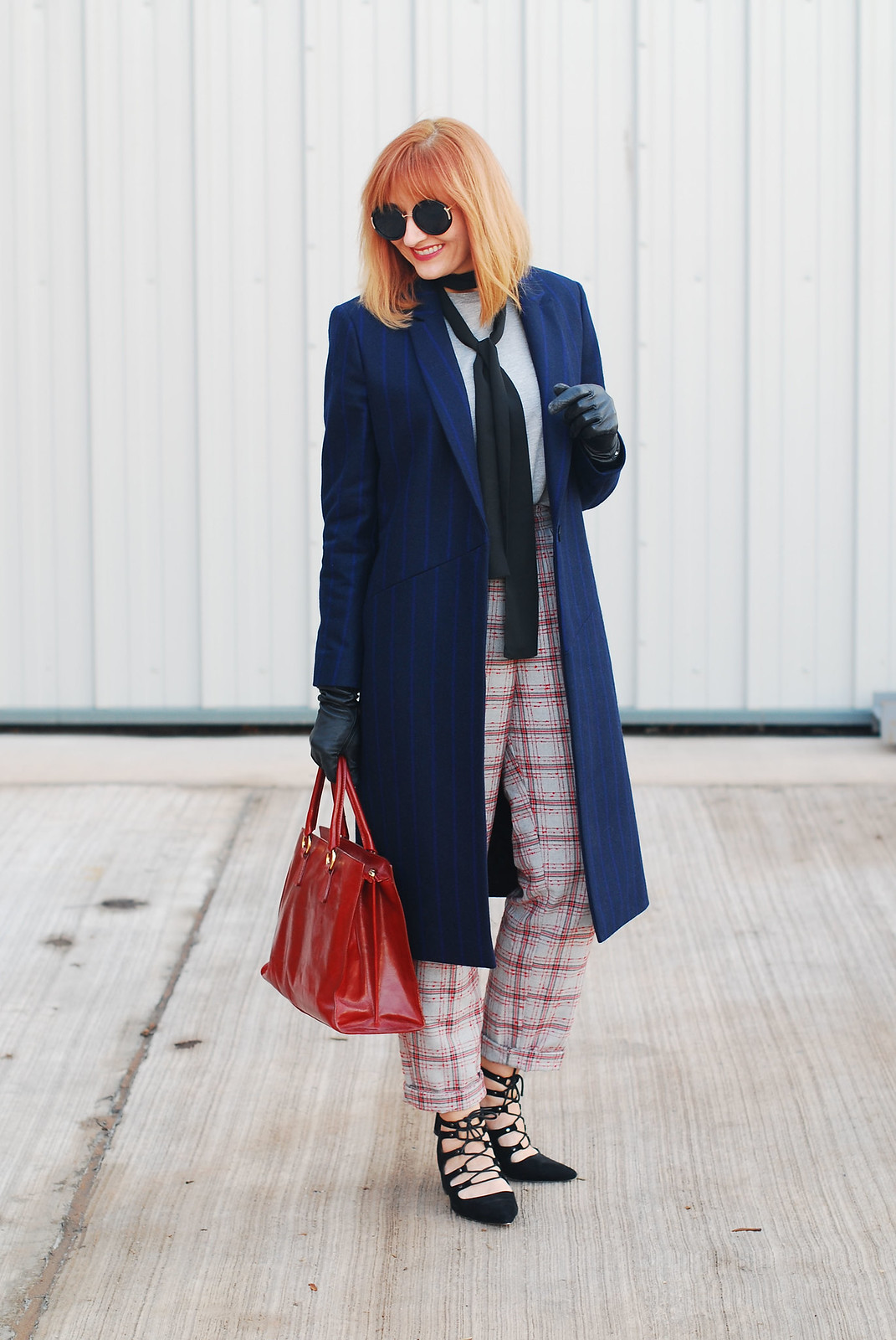 Smart autumn/winter outfit \ fall style \ long navy pinstripe coat, check trousers, heeled ghillie shoes and black skinny scarf | Not Dressed As Lamb, over 40 style