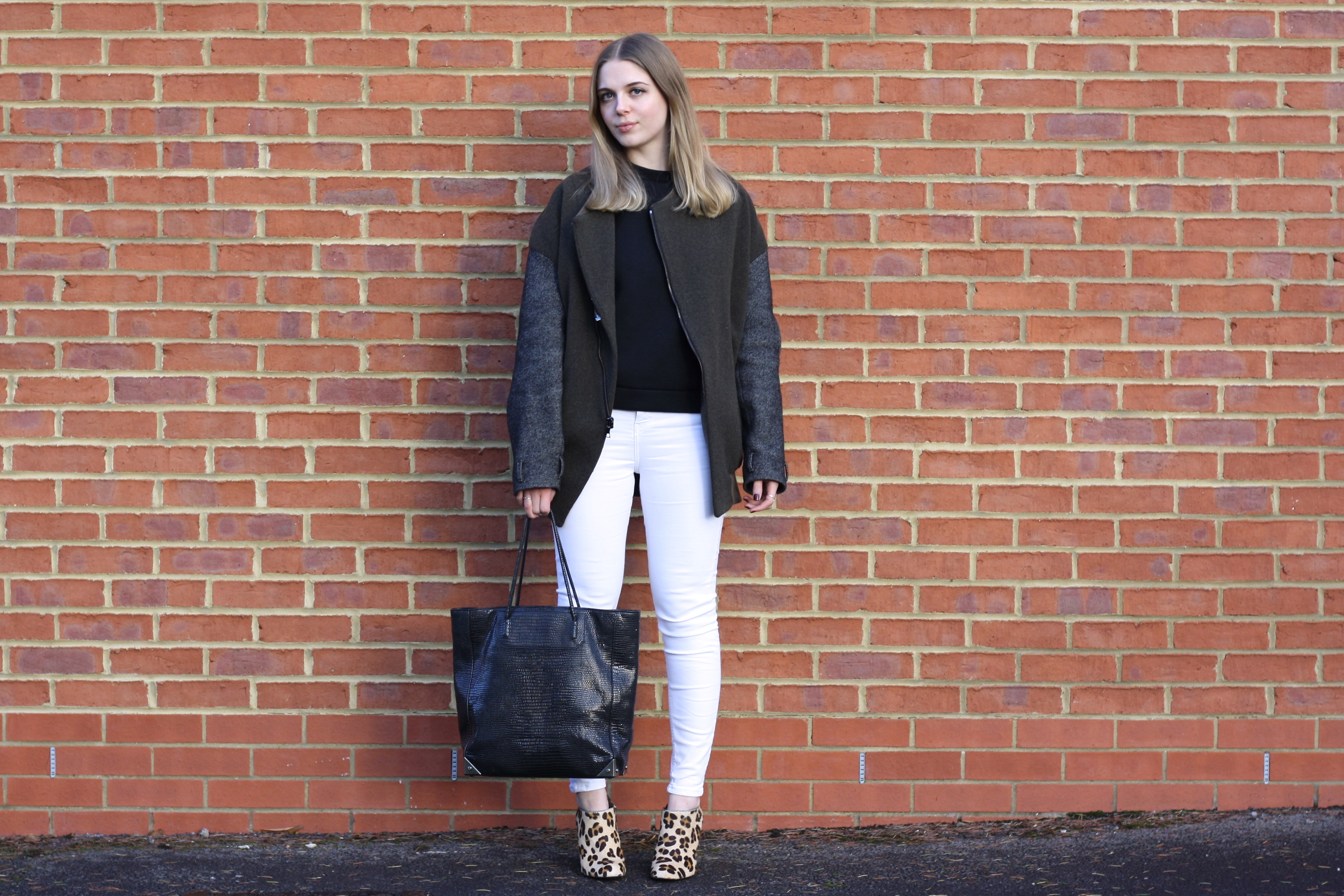 Whistles black neoprene jumper, Topshop white Jamie jeans and Alexander Wang black Prisma bag