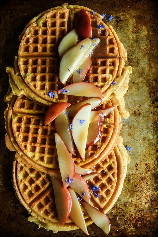 Pumpkin Waffles with Caramelized Pears- Vegan and Gluten Free from HeatherChristo.com