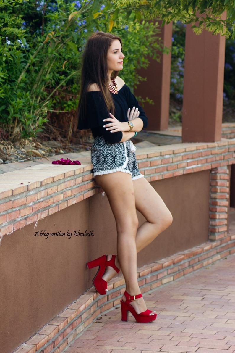 tacones marypaz heelsandroses top shorts bershka (3)