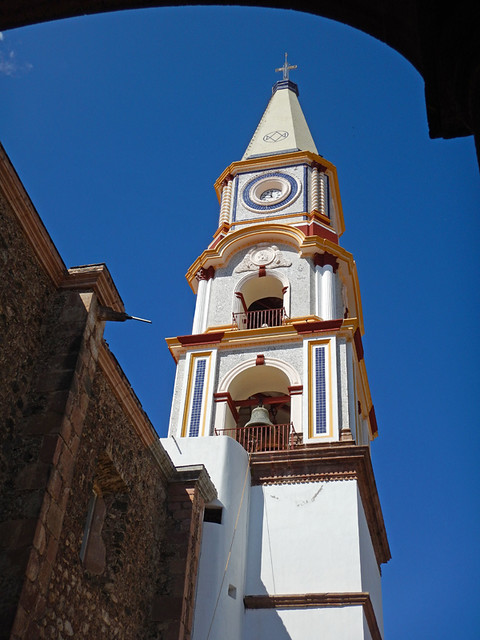The church steeple in Mascota, a 'Pueblo Magico' on the Sierra Madres Occidental on the Pacific coast of Mexico
