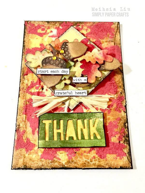 Meihsia Liu simply Paper crafts Simon says stamp Monday challenge mixed media canvas autumn