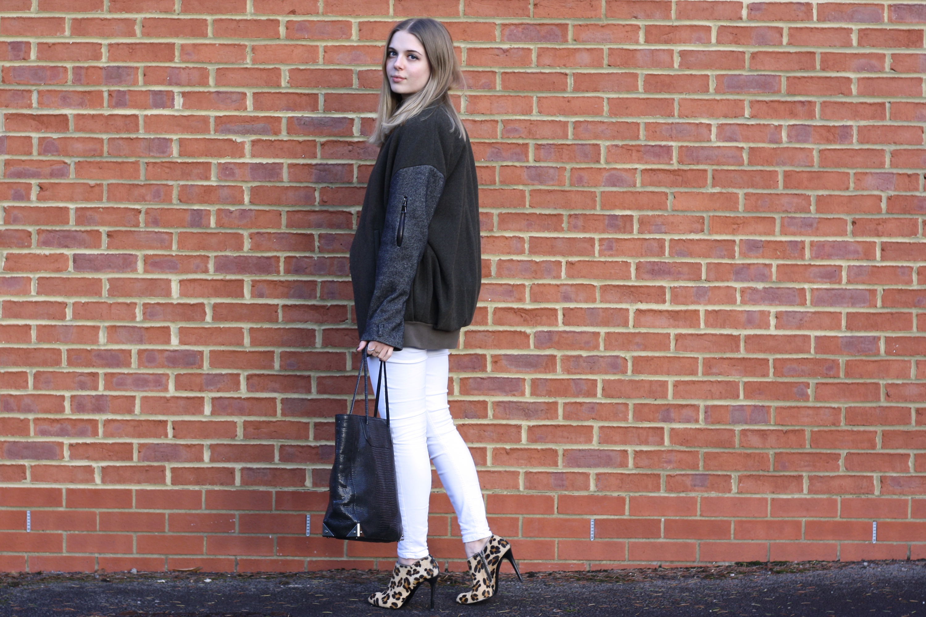 Topshop Unique khaki army jacket, Topshop white Jamie jeans and Zara leopard ankle boots