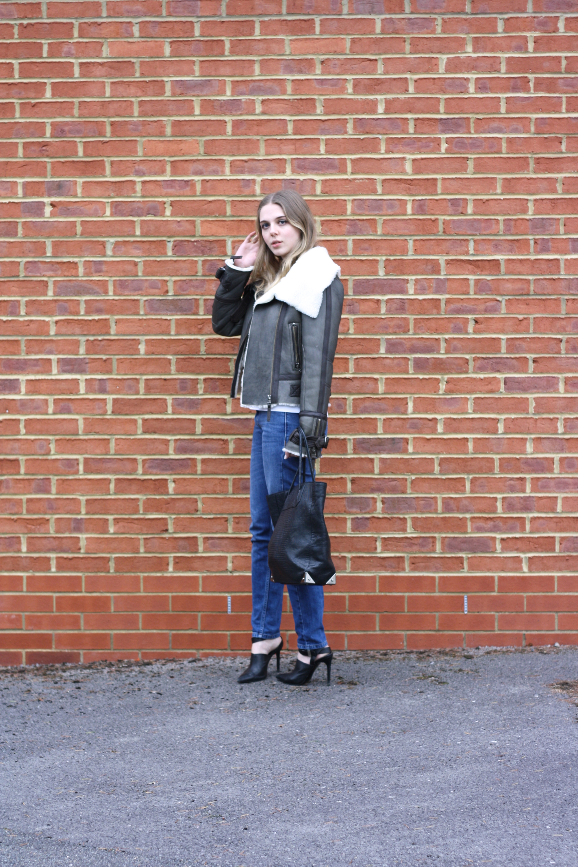 Topshop khaki sheepskin coat, Whistles boyfriend jeans and Alexander Wang Prisma bag