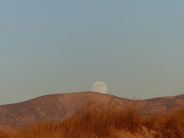 la lune derrière les dunes