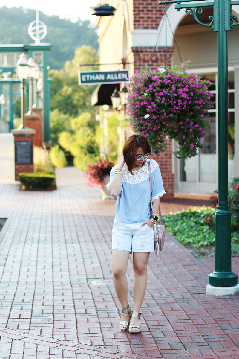 lace-off-shoulder-top-distressed-denim-shorts-4