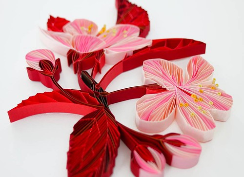 Quilled Plum Blossoms by Judith+Rolfe