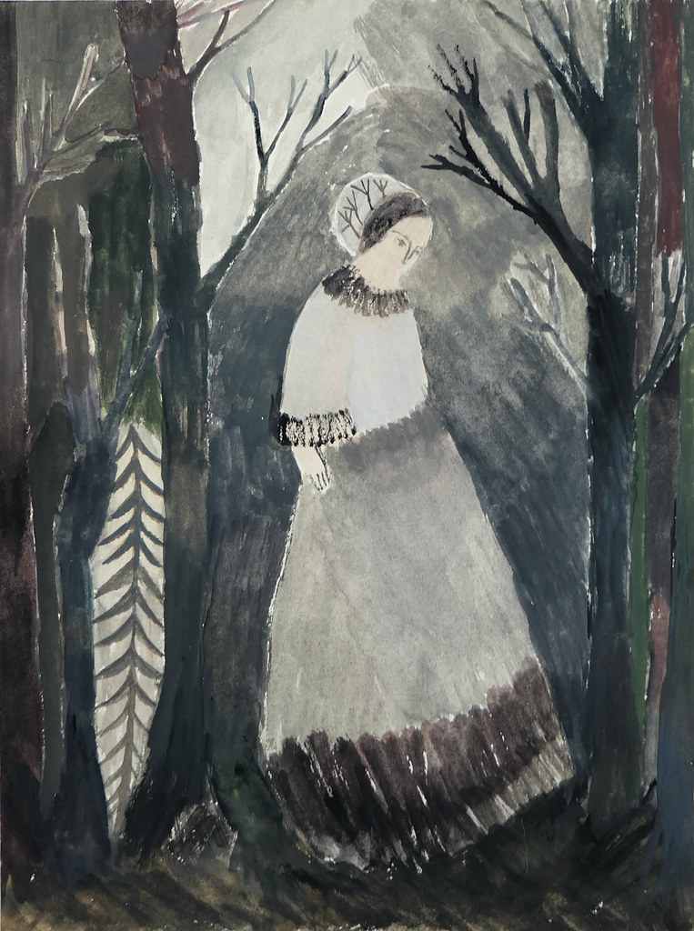 figure in the misty woods