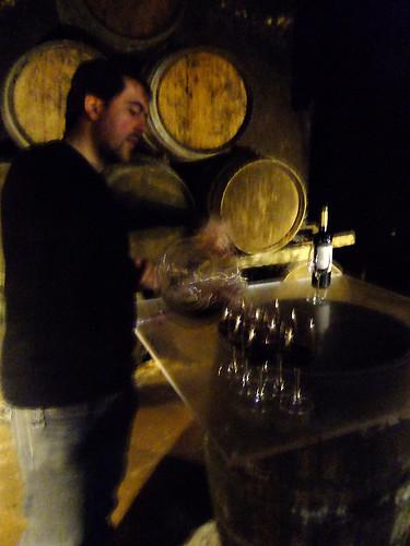 Wine tasting in a cellar in Laguardia, Spain