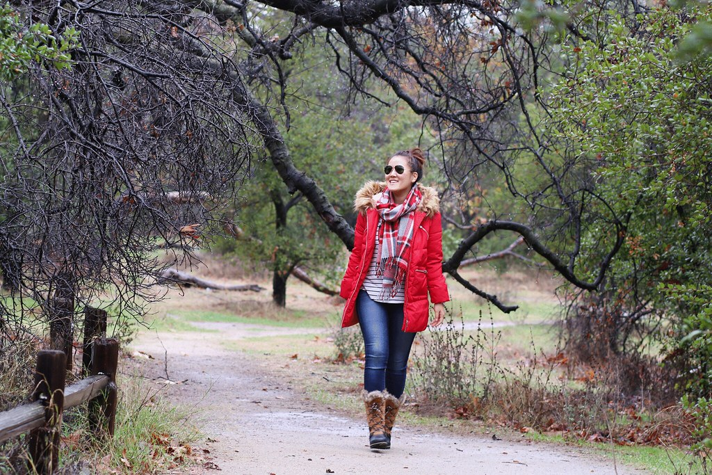 simplyxclassic, fur boots, winter boots, weather boots, red coat, red puffer jacket, stripes and plaid, winter style, blogger, fashion blogger, orange county, california, payless shoes, paylessforstyle