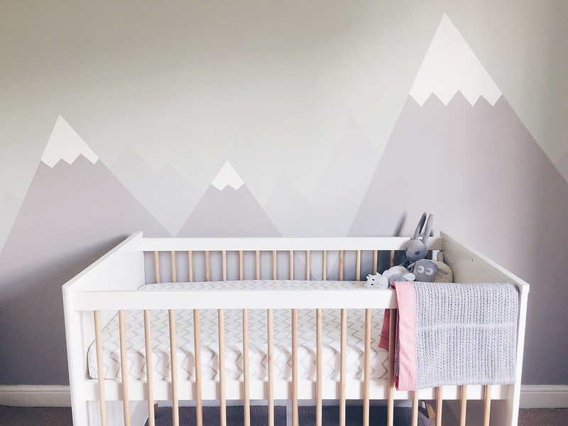 mountain mural for girls nursery