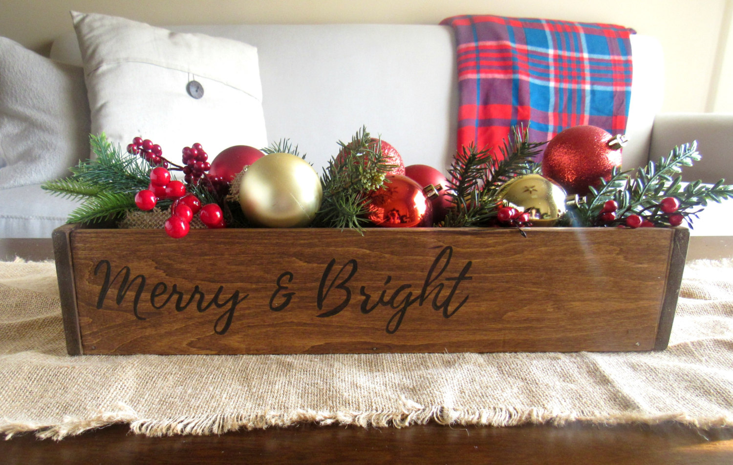 Michigan Gift Idea: Handmade Home Decor From Wood By Al // Featured - Merry & Bright Trough Centerpiece (via Wading in Big Shoes)