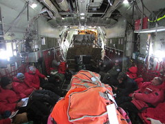 Inside the LC-130 during the flight to South Pole Station