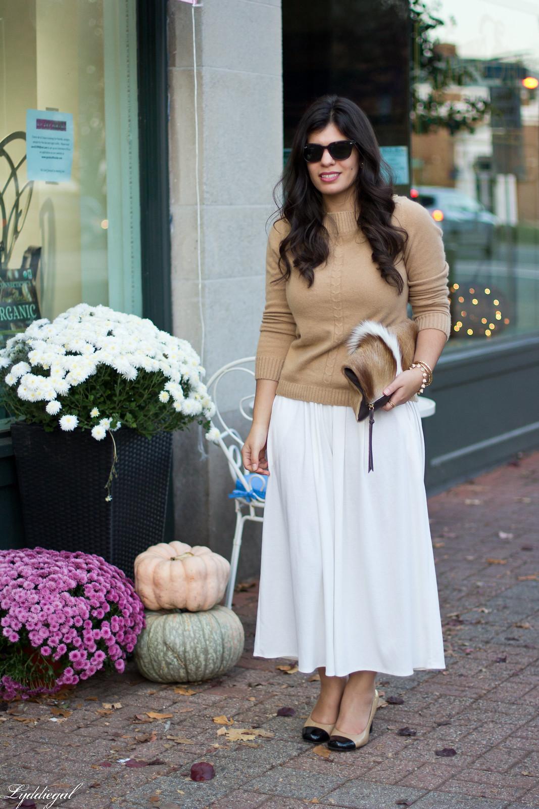 white Culottes, camel sweater, toe cap heels, springbok clutch-1.jpg