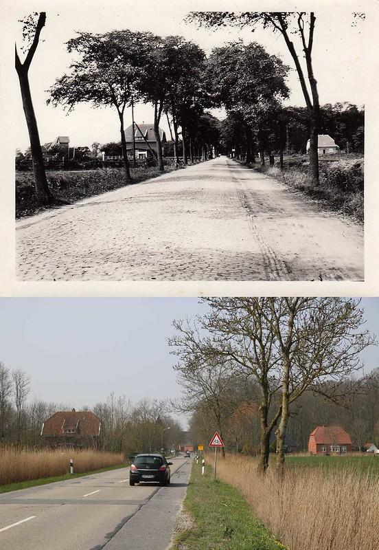 Straße von Pewsum nach Groothusen früher - heute