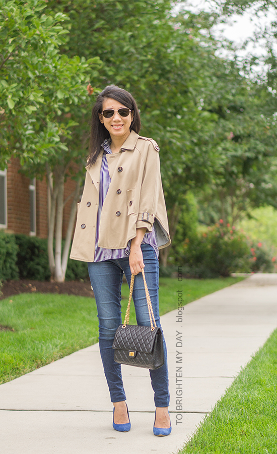 camel trench cape, navy striped button up shirt, skinny jeans, black shoulder bag, blue suede pumps