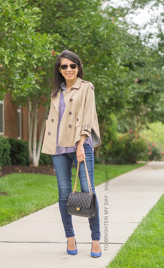 camel trench cape, navy striped button up shirt, skinny jeans, black shoulder bag, blue suede pumps