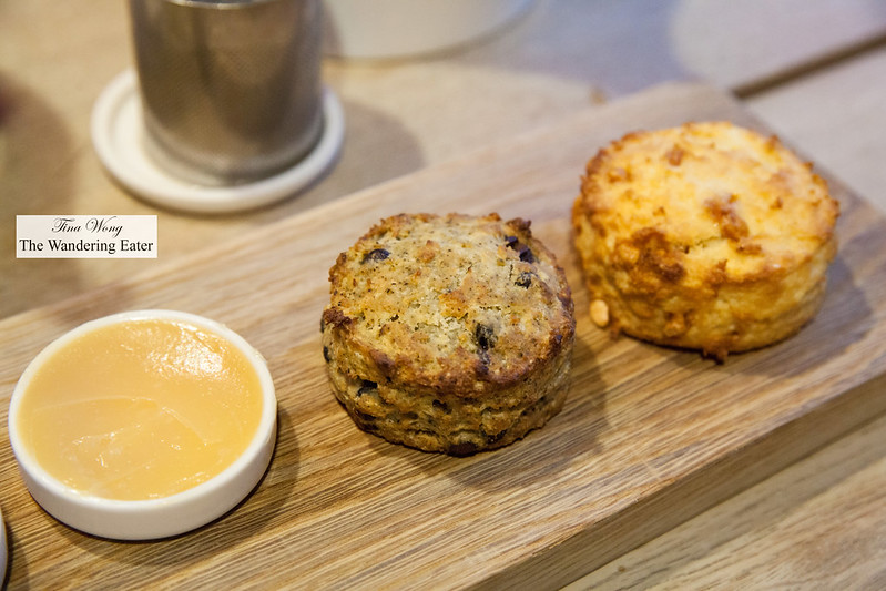 Housemade lemon curd, Ollong and black scone and milk chocolate scone