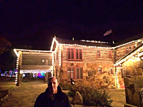 My brother in law in front of Frank Phillips' Lodge